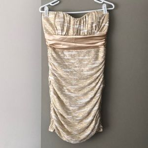 White & gold strapless ruched dress
